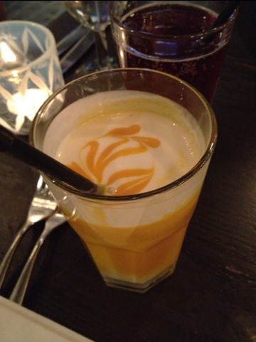 This was at a great restaurant in London called Manaa. Its a coconut + Mango mix. Just unbelievable (great restaurant too, must go for all)